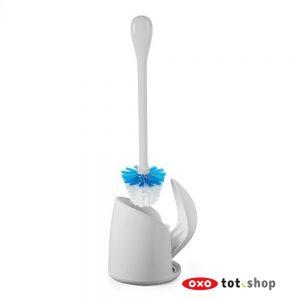 OXO Toiletborstel met compacte houder grijs